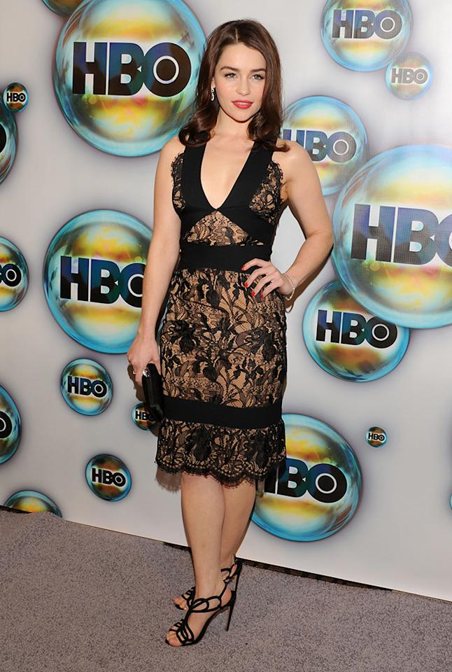 Emilia Clarke arrives for HBO's 69th Annual Golden Globe after party at Circa 55 Restaurant on January 15, 2012 in Los Angeles, California.