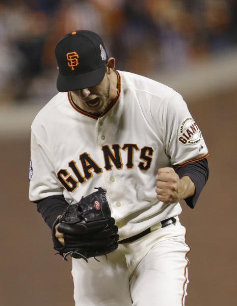 San Francisco Giants' Madison Bumgarner reacts after striking out Detroit Tigers' Omar Infante during the sixth inning of Game 2 of baseball's World Series Thursday, Oct. 25, 2012, in San Francisco. (AP Photo/Marcio Jose Sanchez)
