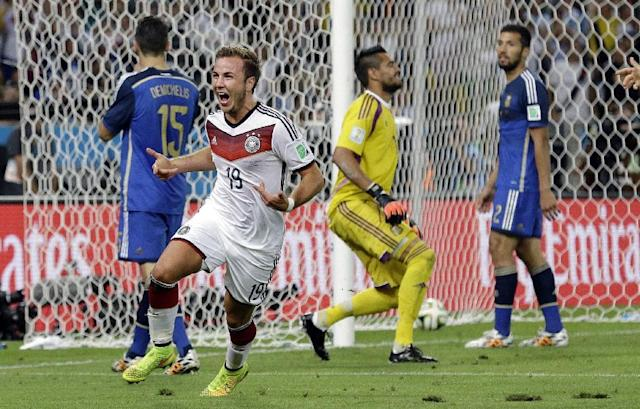 10ThingstoSeeSports - Germany's Mario Goetze celebrates after scoring the opening goal past Argentina's goalkeeper Sergio Romero during the World Cup final soccer match between Germany and Argentina at the Maracana Stadium in Rio de Janeiro, Brazil, Sunday, July 13, 2014. (AP Photo/Victor R. Caivano, File)