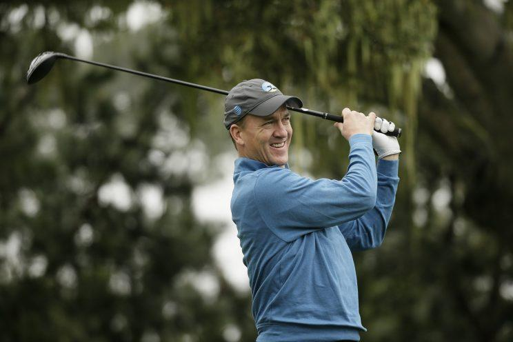 Peyton Manning golfing at Pebble Beach in February. (AP)