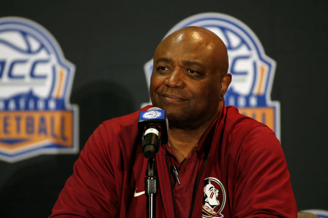 Florida State coach Leonard Hamilton answers a question during the Atlantic Coast Conference NCAA college basketball media day in Charlotte, N.C., Tuesday, Oct. 8, 2019. (AP Photo/Nell Redmond)