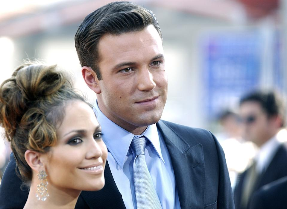 Jennifer Lopez and Ben Affleck during the Gigli premiere.