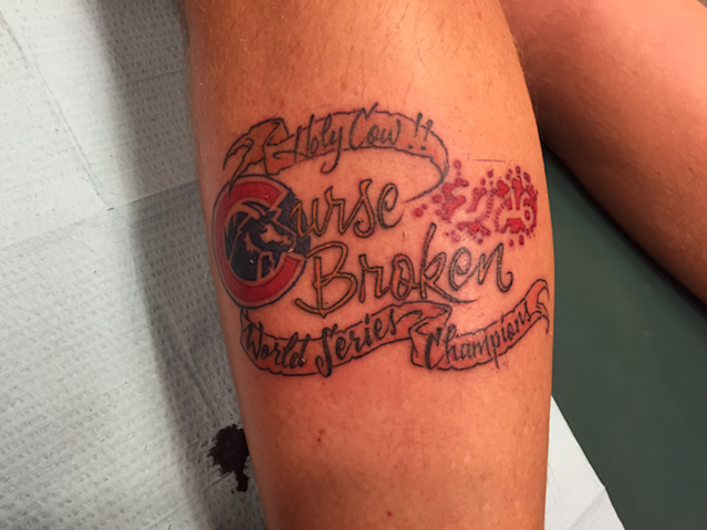 This fan already got his Cubs World Series tattoo. (1460 KXNO)