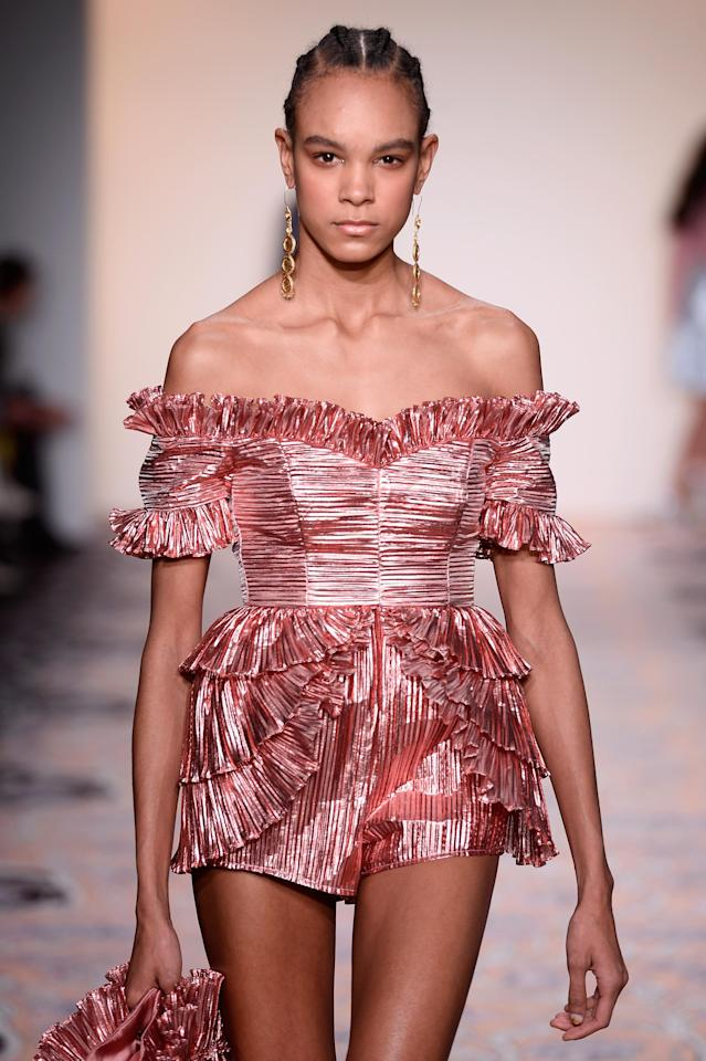 """<p>Alice says, """"Our FW18 collection, """"Portrait of a Lady"""" exudes a sense of fun and spontaneity. I've incorporated lots of different design and styling techniques such as bespoke jacquards, lace, diamonds and pearls.""""</p>"""