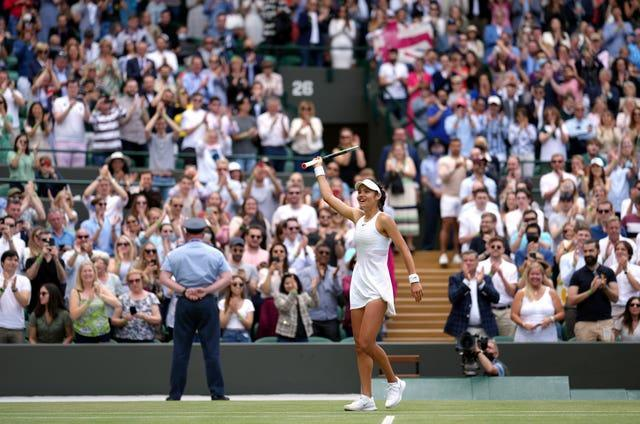 Eighteen-year-old Emma Raducanu became the youngest British woman to reach the second week of Wimbledon in the open era with a stunning 6-3 7-5 win over Sorana Cirstea (John Walton/PA).