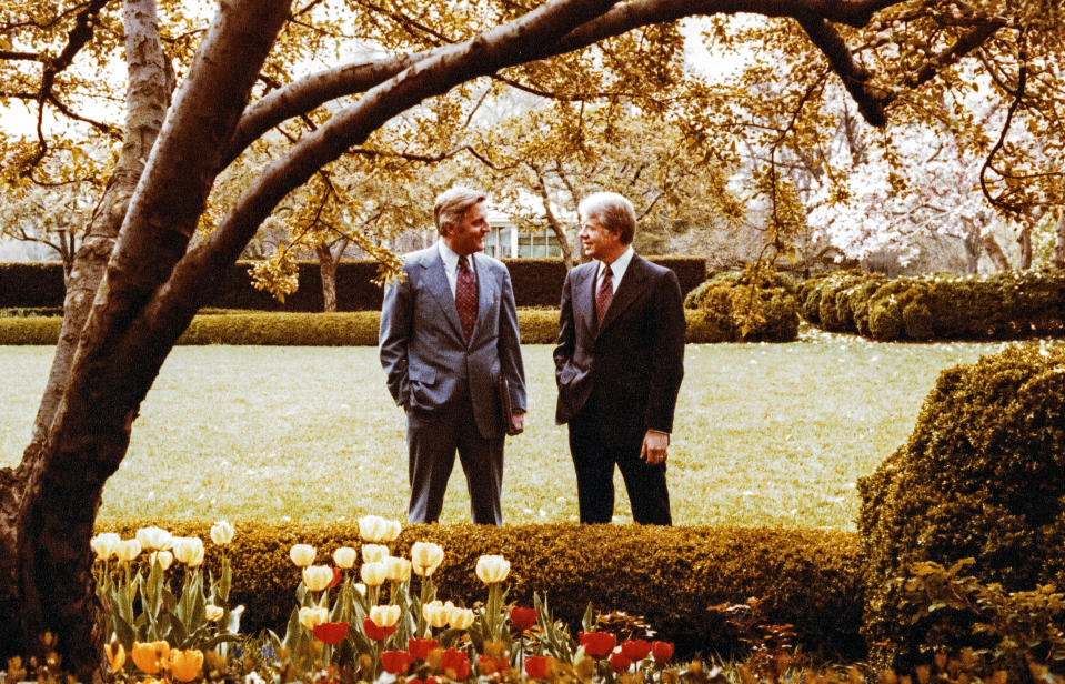 Image: Vice President Walter Mondale and President Jimmy Carter in 1978 (White House via CNP / Getty Images file)