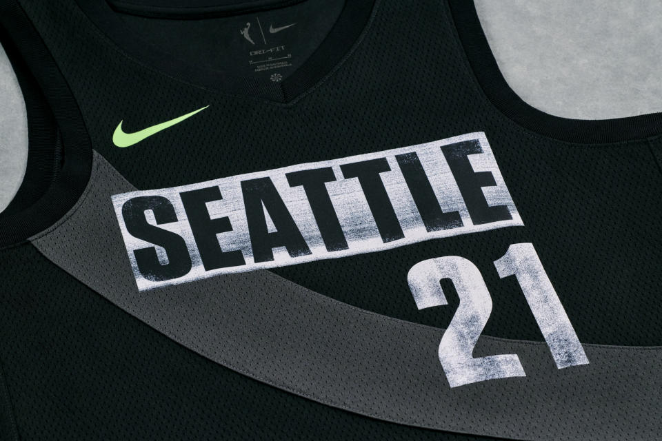 The Seattle Storm Rebel Edition uniforms features a tribute to The Space Needle (Photo by Nike)