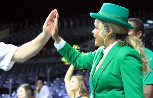 PHOTO: Lynette Wukie made her debut as Notre Dame's first female leprechaun at a women's volleyball game on Aug. 31, 2019, in South Bend, Ind. (University of Notre Dame)