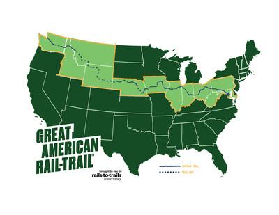 The Great American Rail-Trail (greatamericanrailtrail.org) is the nation's first cross-country multiuse trail, spanning 3,700 miles over 12 states between Washington, D.C., and Washington state. The