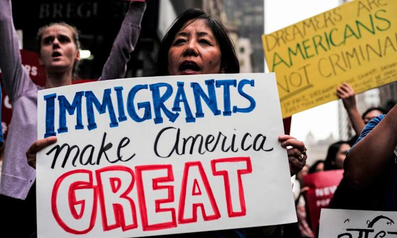 Protesters rally in support of the Deferred Action for Childhood Arrivals (DACA), also known as Dream Act, near the Trump Tower in New York on 5 October 2017.