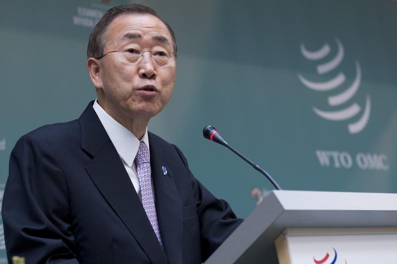 United Nations Secretary General Ban Ki-moon delivers a speech during the second day of third Global Review of aid for trade co-hosted by the World Trade Organization in Geneva, Switzerland, Tuesday, July 19, 2011. The World Trade Organisation holds its third review conference on the aid for trade process, launched in 2005 to help poorer countries build trade facilitating infrastructure.  (AP Photo/Keystone, Dominic Favre) GERMANY OUT AUSTRIA OUT