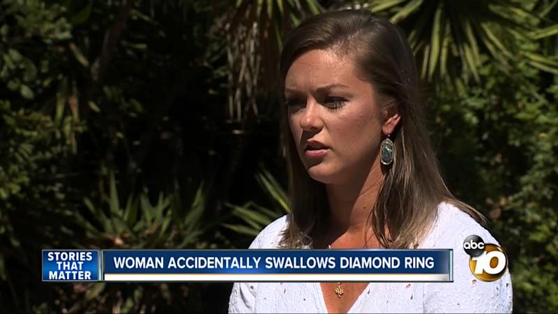 """Jenna Evans said she was dreaming about being on a high-speed train and having to swallow her ring to prevent some """"bad guys"""" from stealing it from her. (Photo: ABC 10)"""