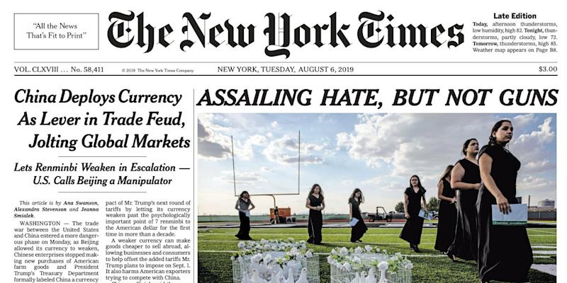 The New York Times' second edition, with the new headline.