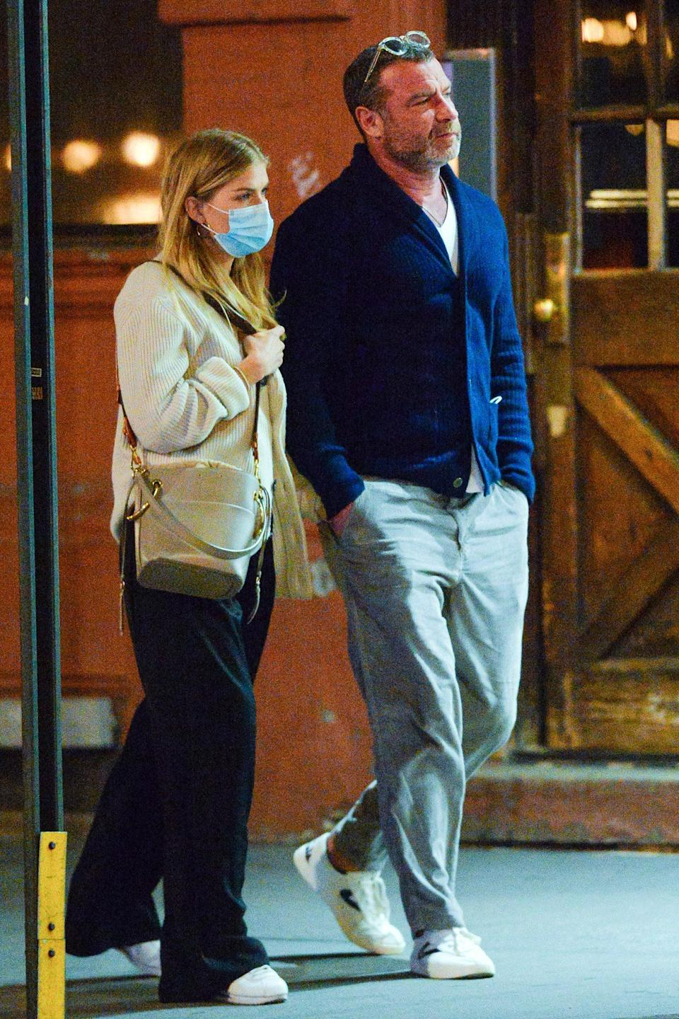 <p>Liev Schreiber and girlfriend Taylor Niesen are seen on a romantic stroll in N.Y.C. on Wednesday.</p>