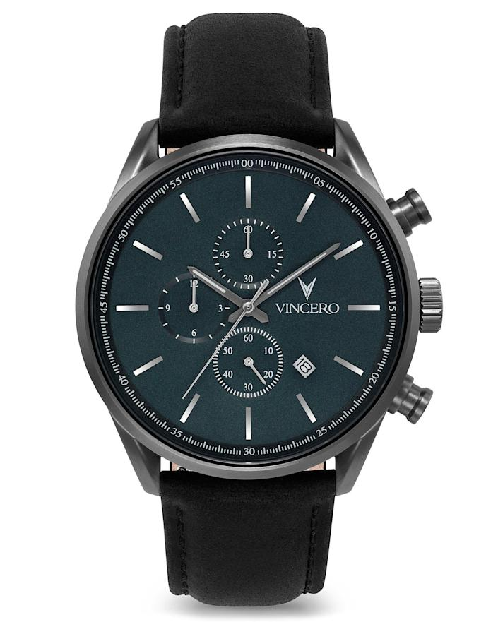 """<p>vincerowatches.com</p><p><strong>$165.00</strong></p><p><a href=""""https://go.redirectingat.com?id=74968X1596630&url=https%3A%2F%2Fvincerowatches.com%2Fproducts%2Fthe-chrono-s-gunmetal-slate-blue&sref=https%3A%2F%2Fwww.womenshealthmag.com%2Flife%2Fg32268112%2Fgifts-for-father-in-law%2F"""" rel=""""nofollow noopener"""" target=""""_blank"""" data-ylk=""""slk:Shop Now"""" class=""""link rapid-noclick-resp"""">Shop Now</a></p><p>If he's not the flashy type, get him this sleek, subtle watch. It'll get the job done but still land him a few compliments from time to time (ha!). </p>"""