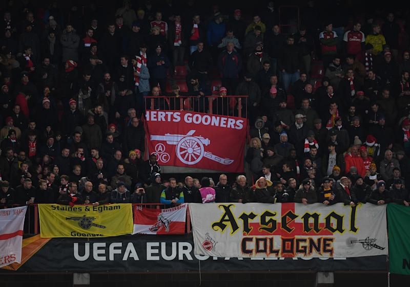 LIEGE, BELGIUM - DECEMBER 12: Arsenal fans during the UEFA Europa League group F match between Standard Liege and Arsenal FC at Stade Maurice Dufrasne on December 12, 2019 in Liege, Belgium. (Photo by David Price/Arsenal FC via Getty Images)