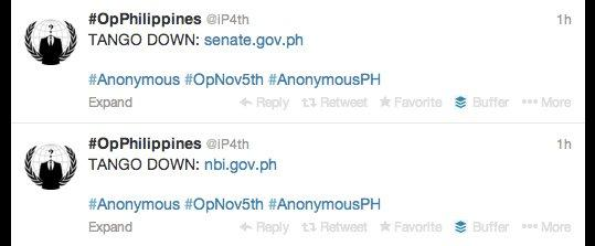 Anonymous takes down two Philippine government websites on November 5