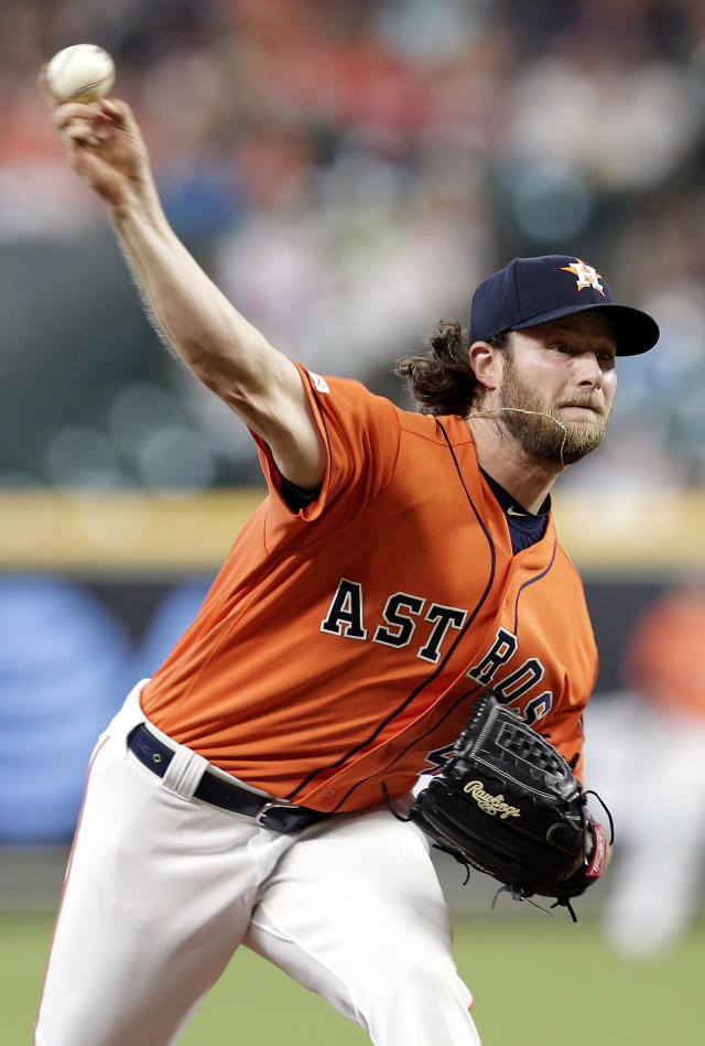 Houston Astros starting pitcher Gerrit Cole throws to a Baltimore Orioles batter during the first inning of a baseball game Friday, June 7, 2019, in Houston. (AP Photo/Michael Wyke)