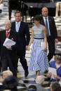 <p>Cameron looked lovely and summery in a two-way striped dress from L.K. Bennett, which ruffled some feathers because it's sleeveless. <i>(Photo: PA Images)</i><br></p>