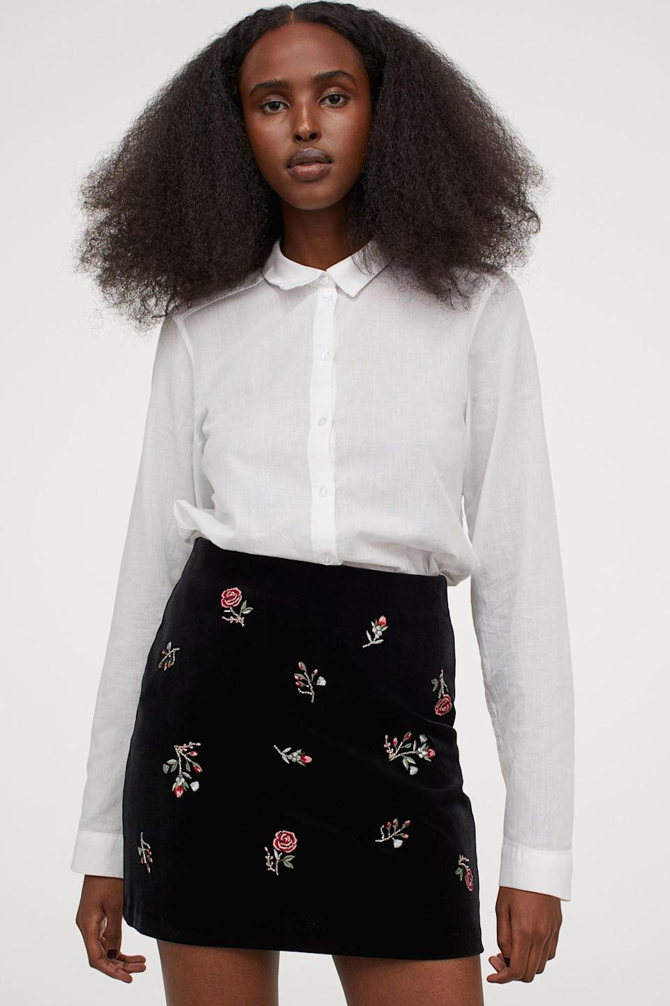 <p>This <span>Embroidered Skirt</span> ($30) is so pretty to look at. A solid color blouse will keep the focus on it.</p>