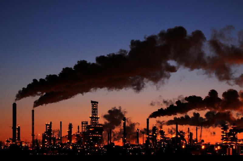 FILE PHOTO: Petro-Canada's oil refinery glows at dusk in Edmonton