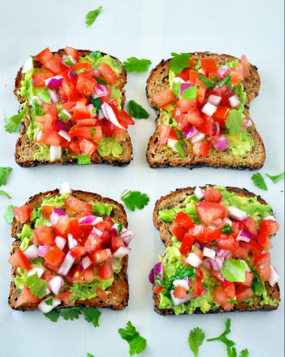 Avocados are high in healthy fat, folate and potassium. Can't handle the onions on this toast? Try black beans instead.