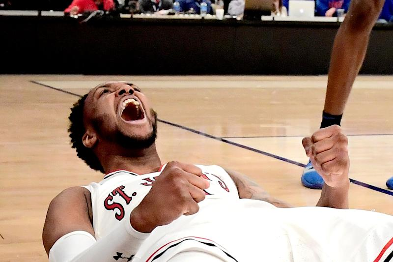 NEW YORK, NEW YORK - MARCH 13: Shamorie Ponds #2 of the St. John's Red Storm celebrates a basket and drawing the foul against the DePaul Blue Demons during the first round of the 2019 Big East men's basketball tournament at Madison Square Garden on March 13, 2019 in New York City. (Photo by Steven Ryan/Getty Images)
