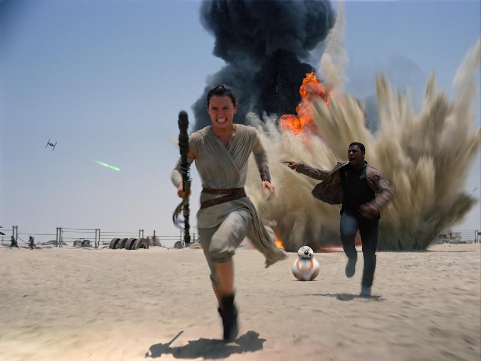 "<p>The 2015 installment of the <em>Star Wars</em> trilogy follows Rey (Daisy Ridely) as she follows Luke Skywalker's footsteps by becoming a Jedi during the war between the First Order and the Resistance. While there have been some seriously badass women in the <em>Star Wars</em> universe before, this is the first of the franchise to put a woman at its center.</p> <p><a href=""https://www.disneyplus.com/movies/star-wars-the-force-awakens/1LEKJPDPeMr7"" rel=""nofollow noopener"" target=""_blank"" data-ylk=""slk:Available to stream on Disney+"" class=""link rapid-noclick-resp""><em>Available to stream on Disney+</em></a></p>"