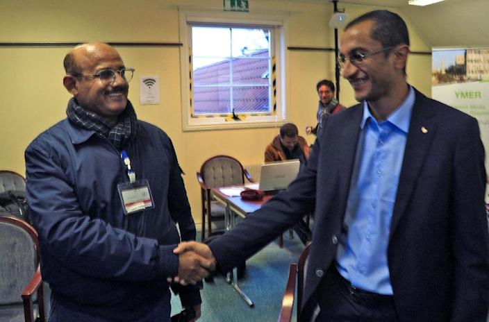 Huthi representative Salim al-Moughaless (R) and Yemeni government representative Ahmed Ghaleb at talks in Sweden where the two sides have exchanged some 15,000 names for a prisoner swap (AFP Photo/Essa AHMED)
