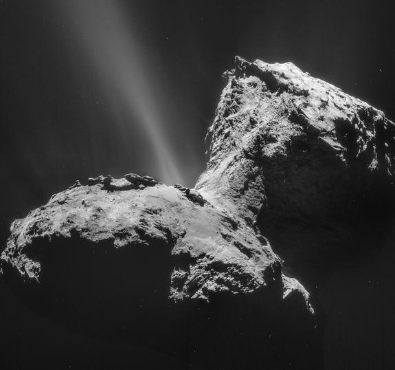 This Rosetta photo shows a jet sprouting from Comet 67P/Churyumov-Gerasimenko's neck on Jan. 31, 2015.