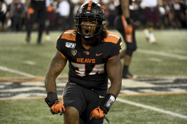 Oregon State linebacker Avery Roberts reacts after making a play during the second half of an NCAA college football game against Arizona State in Corvallis, Ore., Saturday, Nov. 16, 2019. (AP Photo/Steve Dykes)