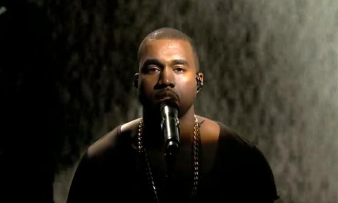 "Kanye West performing his new single ""New Slaves"" on SNL."