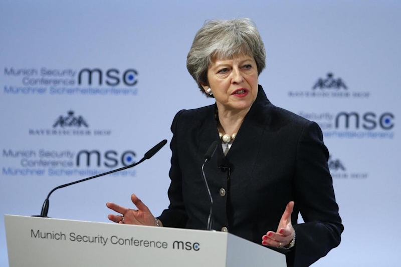 Prime Minister Theresa May ruled out a second referendum in a speech on security in Munich (REUTERS)