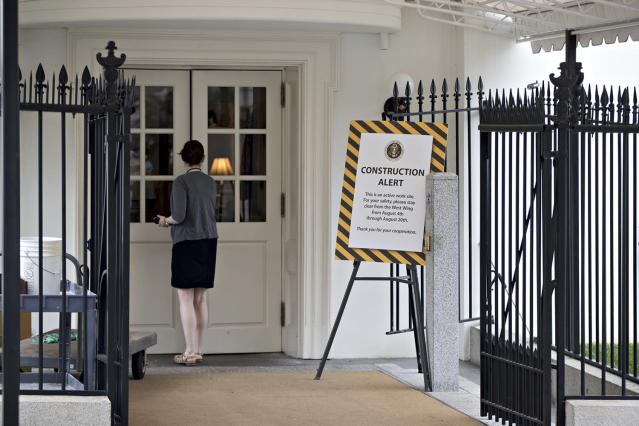 <p>A sign alerts visitors at a West Wing entrance of the White House in Washington, Friday, Aug. 11, 2017, during renovations while President Donald Trump is spending time at his golf resort in New Jersey. (AP Photo/J. Scott Applewhite) </p>
