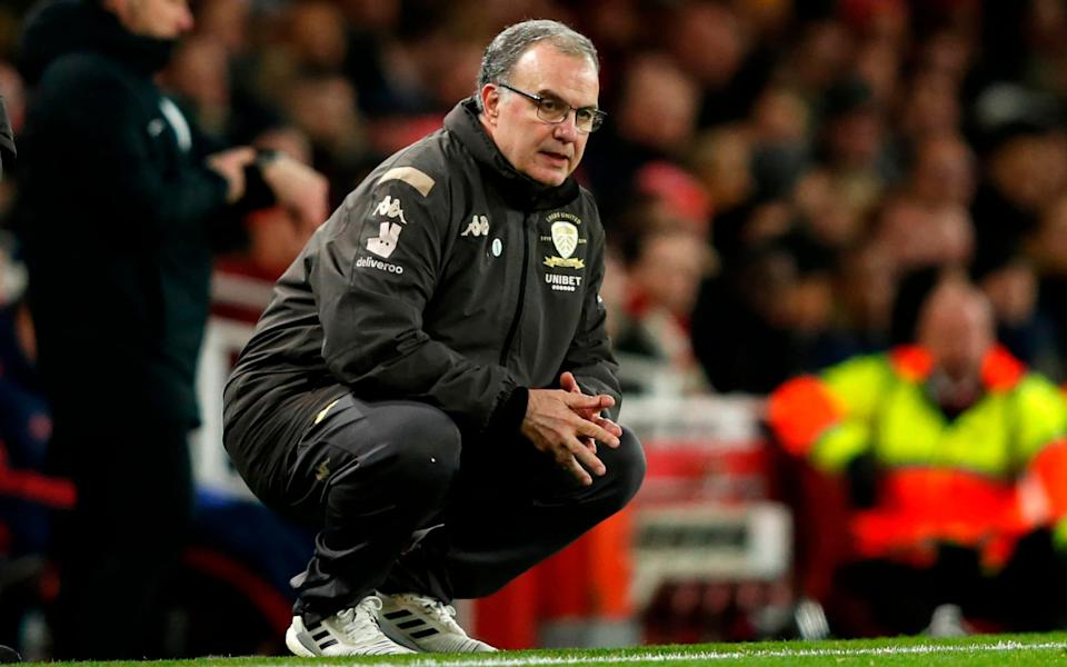 Leeds United's Argentinian head coach Marcelo Bielsa watches from the touchline duirng the English FA Cup third round football match between Arsenal and Leeds United  - AFP