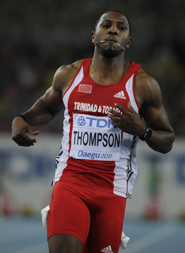 (Trinidad and Tobago's Richard Thompson competes in the men's 100 metres heats at the International Association of Athletics Federations (IAAF) World Championships in Daegu on August 27, 2011.  AFP PHOTO / OLIVIER MORIN (Photo credit should read OLIVIER MORIN/AFP/Getty Images)