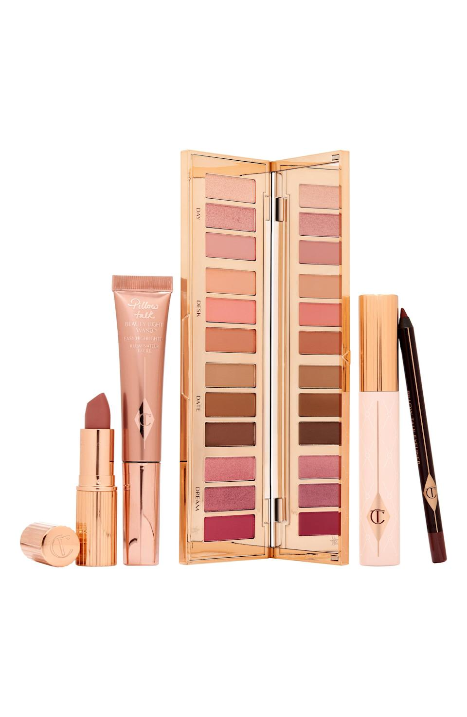 """<p><strong>Charlotte Tilbury</strong></p><p>nordstrom.com</p><p><a href=""""https://go.redirectingat.com?id=74968X1596630&url=https%3A%2F%2Fwww.nordstrom.com%2Fs%2Fcharlotte-tilbury-full-size-pillow-talk-lip-cheek-eye-set-203-value%2F5911670&sref=https%3A%2F%2Fwww.harpersbazaar.com%2Fbeauty%2Fg36991550%2Fnordstrom-anniversary-sale-beauty-deals%2F"""" rel=""""nofollow noopener"""" target=""""_blank"""" data-ylk=""""slk:Shop Now"""" class=""""link rapid-noclick-resp"""">Shop Now</a></p><p><strong>Sale: $135</strong></p><p><strong>Value: $203</strong></p><p>Amal Clooney and Kate Moss both exclusively wore Charlotte Tilbury makeup on their wedding days. This set from the British makeup artist centers around the brand's culty Pillow Talk lip color. It includes a 12-shade limited edition eyeshadow palette, a Matte Revolution Lipstick, the Beauty Light Wand (a nude-pink highlighter blush), the Push-Up Lashes Mascara, and an eyeliner. <br></p>"""