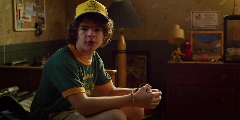 """<p>I can practically hear Steve Harrington shrieking with joy as we speak. Throw on a <a href=""""https://go.redirectingat.com?id=74968X1596630&url=https%3A%2F%2Fwww.hottopic.com%2Fproduct%2Fstranger-things-camp-know-where-ringer-t-shirt%2F11893673.html&sref=https%3A%2F%2Fwww.seventeen.com%2Fcelebrity%2Fmovies-tv%2Fg28354429%2Fdiy-stranger-things-halloween-costumes%2F"""" rel=""""nofollow noopener"""" target=""""_blank"""" data-ylk=""""slk:Camp Know Where tee"""" class=""""link rapid-noclick-resp"""">Camp Know Where tee</a> and matching hat and immediately feel yourself transform into the coolest nerd of them all.</p><p><strong>What you'll need: </strong><em>Stranger Things Camp You Know Where T-Shirt, $20, Spencer's</em></p><p><a class=""""link rapid-noclick-resp"""" href=""""https://go.redirectingat.com?id=74968X1596630&url=https%3A%2F%2Fwww.spencersonline.com%2Fproduct%2Fcamp-know-where-t-shirt-stranger-things%2F177802.uts&sref=https%3A%2F%2Fwww.seventeen.com%2Fcelebrity%2Fmovies-tv%2Fg28354429%2Fdiy-stranger-things-halloween-costumes%2F"""" rel=""""nofollow noopener"""" target=""""_blank"""" data-ylk=""""slk:SHOP NOW"""">SHOP NOW</a></p>"""