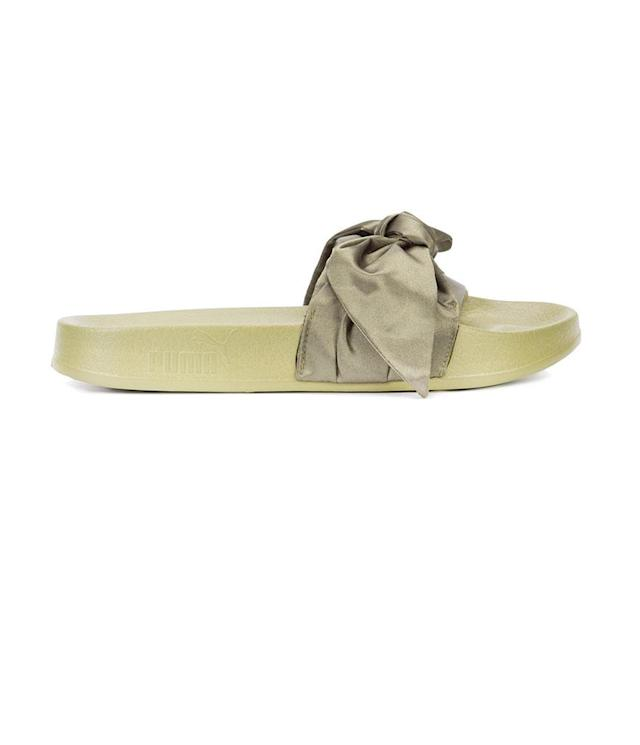 "<p>Fenty x Puma Bow Slider Sandals, $90, <a href=""http://www.zappos.com/p/puma-bow-slide-fenty-by-rihanna-marshmallow-puma-silver/product/8931643/color/489472?ef_id=WVaoNQAAAH3aH3PP%3A20170727205416%3As&ef_id=WVaoNQAAAH3aH3PP%3A20170727205416%3As"" rel=""nofollow noopener"" target=""_blank"" data-ylk=""slk:zappos.com"" class=""link rapid-noclick-resp"">zappos.com</a> </p>"