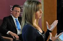 British opposition Conservative party Leader David Cameron (L) listens as former eastenders actress turned anti-knife campaigner Brooke Kinsella speaks during election campaign event in Lambeth, south London on April 27, 2010. AFP PHOTO/Leon Neal (Photo credit should read LEON NEAL/AFP via Getty Images)