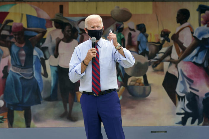 Democratic presidential candidate former Vice President Joe Biden speaks at the Little Haiti Cultural Complex, Monday, Oct. 5, 2020, in Miami. (AP Photo/Andrew Harnik)