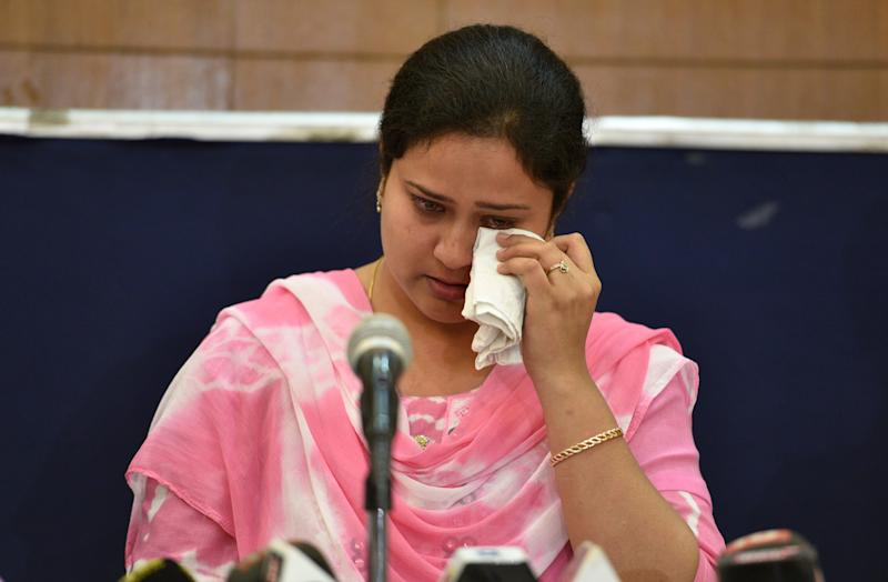 Shabista Khan, wife of Dr. Kafeel Khan, during a press conference on April 21, 2018 in New Delhi, India. (Photo: Hindustan Times via Getty Images)