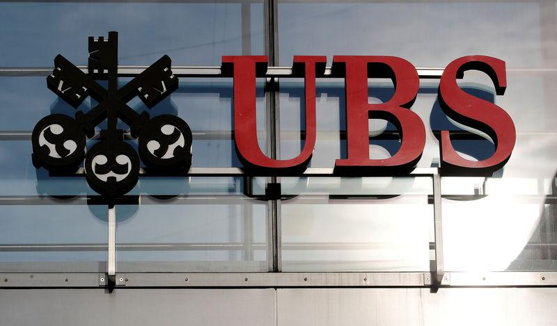 FILE PHOTO: The logo of Swiss bank UBS is seen in Zurich