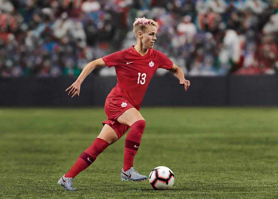 <p>Sophie Schmidt in Canada Soccer's 2019 home Kit. Its red colour is inspired by the maple leaf, the national symbol of Canada for more than 300 years, and represents peace, tolerance and unity. The maple leaf first blooms red in the spring and turns red again in the autumn. This reflects the combination of the team's new and veteran players and their desire to be the last team standing in France. </p>