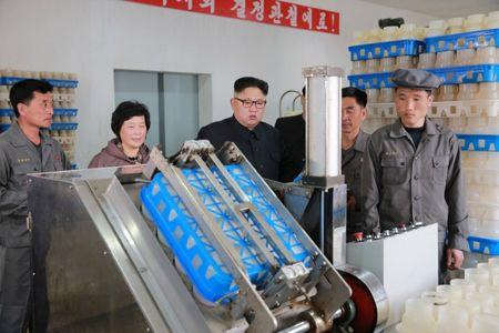 North Korean Leader Kim Jong Un gives field guidance to the Pyongyang mushroom factory in this undated photo released by North Korea's Korean Central News Agency (KCNA) in Pyongyang