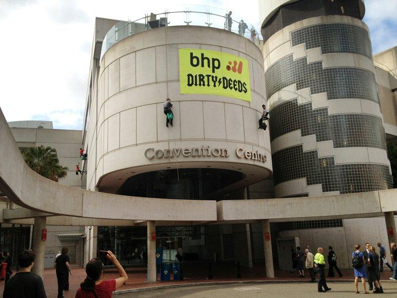 Abseiling BHP protesters charged