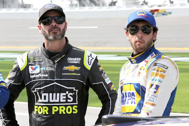 "Will Jimmie Johnson and <a class=""link rapid-noclick-resp"" href=""/nascar/sprint/drivers/3311/"" data-ylk=""slk:Chase Elliott"">Chase Elliott</a> be the only Hendrick drivers who make the playoffs? (Getty)"