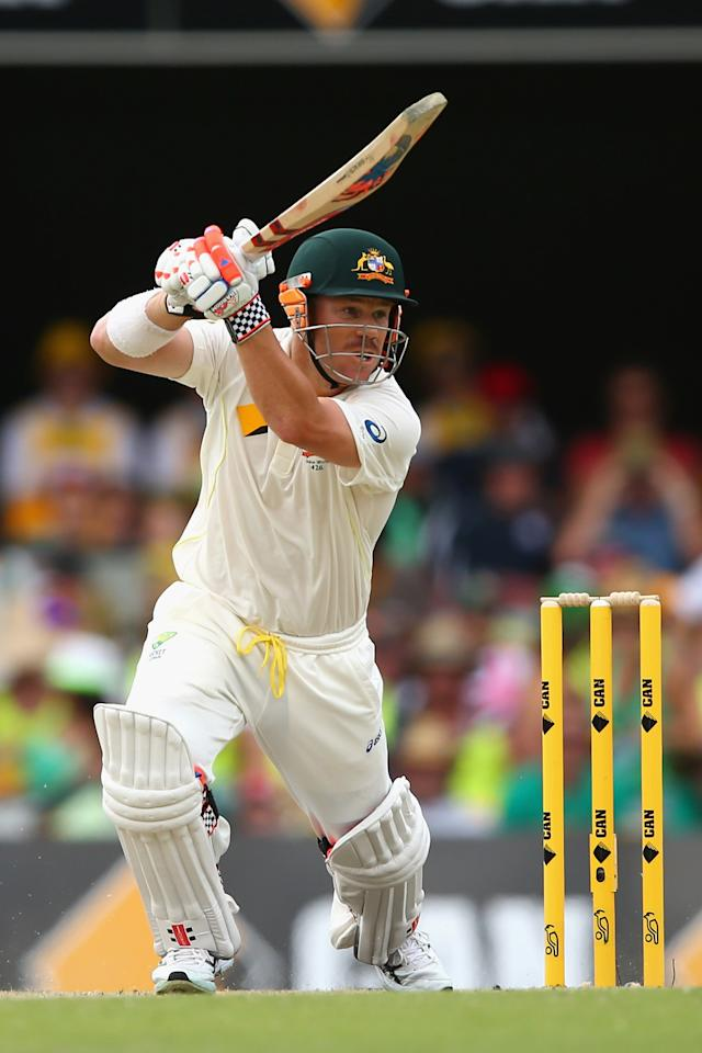 BRISBANE, AUSTRALIA - NOVEMBER 23: David Warner of Australia bats during day three of the First Ashes Test match between Australia and England at The Gabba on November 23, 2013 in Brisbane, Australia.  (Photo by Cameron Spencer/Getty Images)