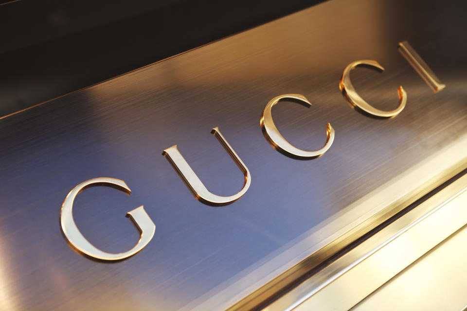 Florence, Italy - October 4, 2011: Detail of a luxury fashion brand Gucci in the centre of Florence