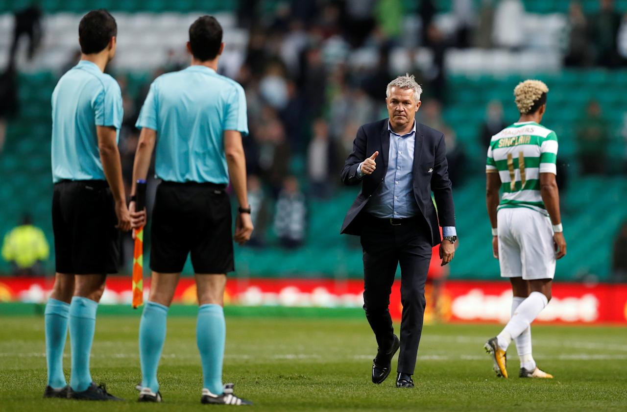 Soccer Football - Champions League - Celtic vs Rosenborg BK - Third Qualifying Round First Leg - Glasgow, Britain - July 26, 2017   Rosenborg manager Kare Ingebrigtsen after the match   REUTERS/Russell Cheyne